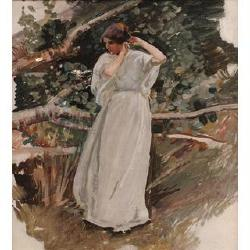 Harry Watson, RWS, ROI, RWA, (British, 1871-1936) 'The White dress' 12 x 11 in (30.5 x 28 cm)
