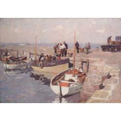 Gyrth Russell, RI, ROI, SMA, (British, 1892-1970) St.Ives, unloading the catch 21 x 30 in (53.5 x 76.2 cm)