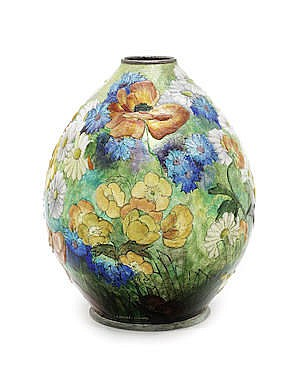 CAMILLE FAURÉ An Art Deco Enamelled Metal Vase with Flora, c