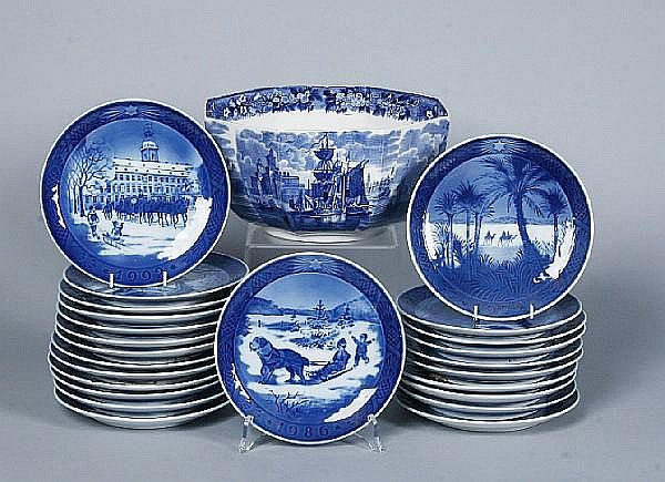 A set of 24 Royal Copenhagen Christmas plates