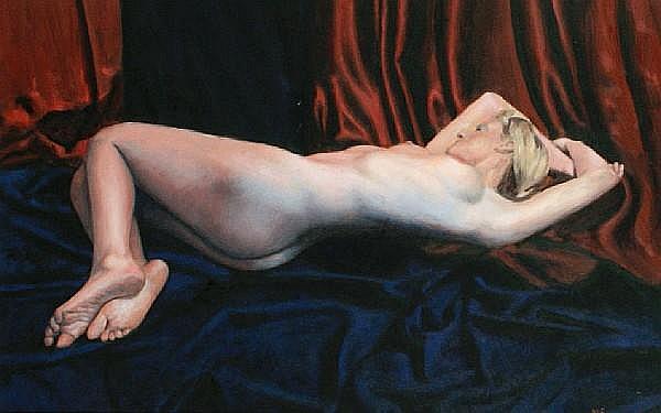 Mark Clark (British, born 1959) Zoe, Red satin curtains