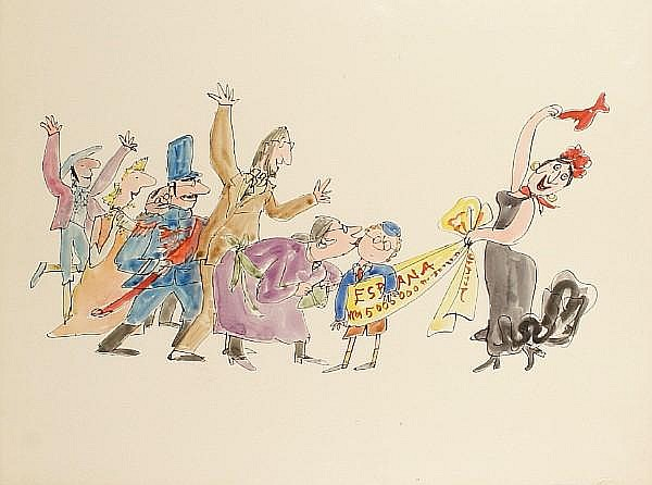 Quentin Blake (British, born 1932) A set of four illustrations for 'Grimble' by Clement Freud, drawn for Jackanory, BBC Television, 1971