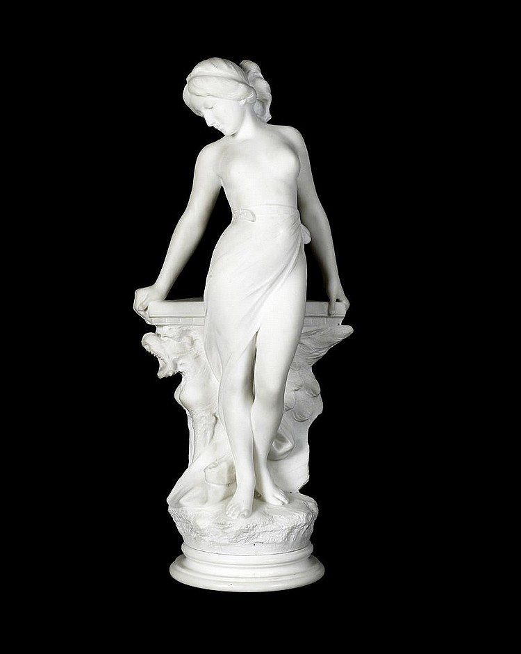 Emilio Fiaschi, Italian (1858-1941) A late 19th/ early 20th century Carrara marble figure of a nude girl