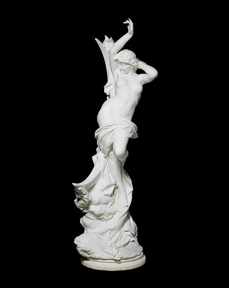 Vittorio Caradossi, Italian (1861-1918) A life-size Carrara marble figure of a moon nymph