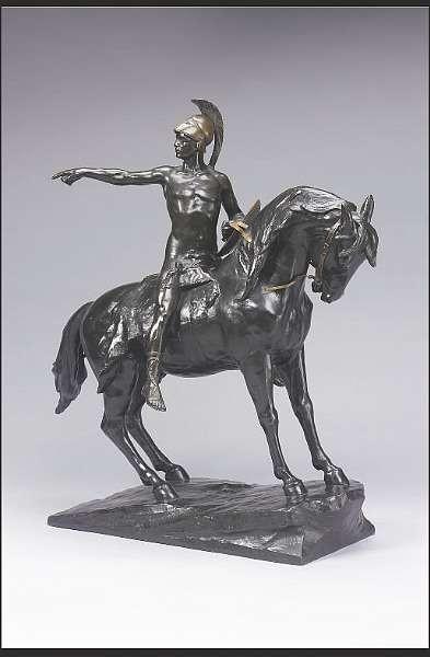 Julius Schmidt-Felling, (German,1826-1886): A bronze figural group of a Greek warrior on horseback,
