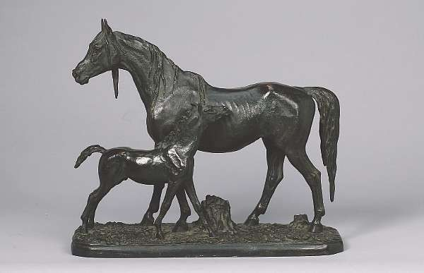 Christophe Fratin (French, c. 1800-1864): A bronze goup of a mare and foal,