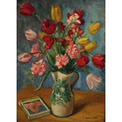 Alphonse Mora (Belgian, 1891-1977) Vase of Tulips and Carnations signed, oil on canvas 71 x 52.5 cm.