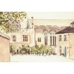 Leslie Main (British, 20th Century) Eton College signed, inscribed and dated 1984, watercolour 18 x 26.5 cm.