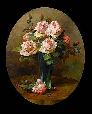 Wilhelm Schütze (German, 1840-1898) Still life of roses in a glass vase 57 x 45.5cm (22 1/2 x 17 3/4in)
