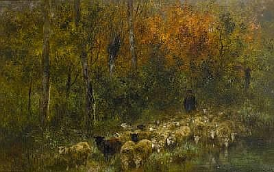 Xavier de Cock (Belgian, 1818-1896) Shepherd and flock in woodland