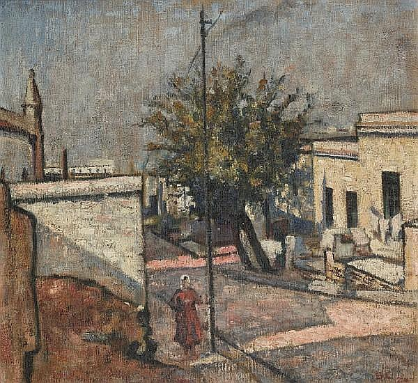 Harry Stratford Caldecott (South African, 1886-1929) 'In the Malay Quarter (Street Scene, Malay Quarter)'