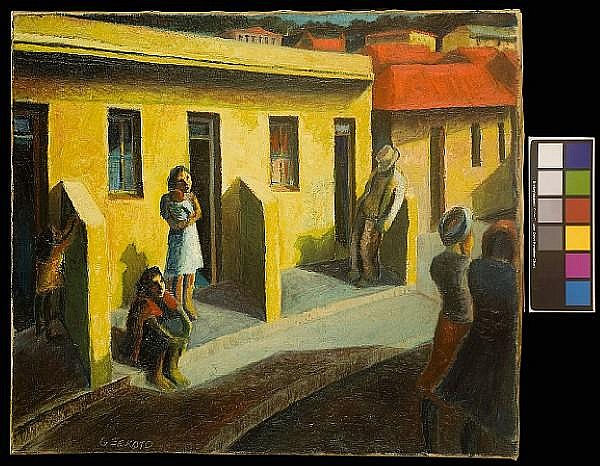 Gerard Sekoto (South African, 1913-1993) 'Yellow Houses, District Six'