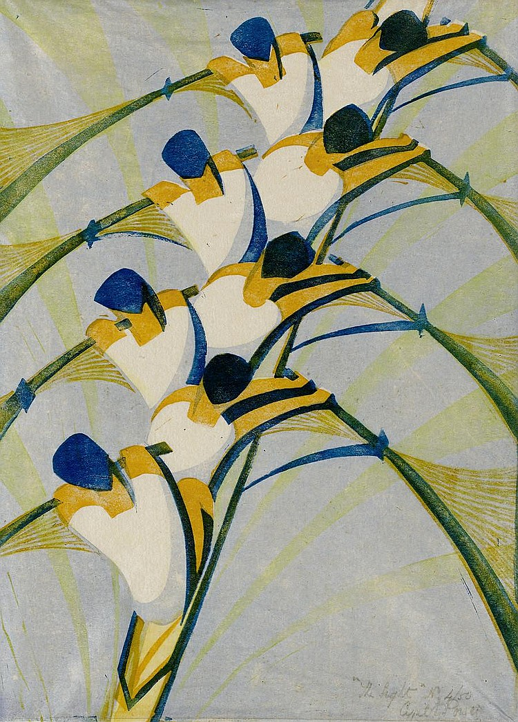 Cyril Edward Power (British, 1872-1951) The Eight (Coppel CEP 18; Vann 18) Linocut printed in chrome orange, permanent blue, pale chrome and Chinese blue, 1930, on buff oriental laid tissue, signed, titled and numbered 4/50 in pencil, with margins,