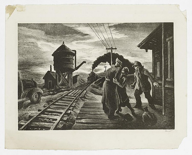 Thomas Hart Benton (American, 1889-1975) Morning Train Lithograph, 1943, on wove, signed in pencil, with margins, 231 x 404mm (9 1/8 x 16in) (SH) (unframed)
