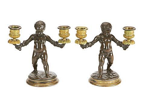 Louis Kley, French (1833- 1911) A pair of bronze figural candelabra
