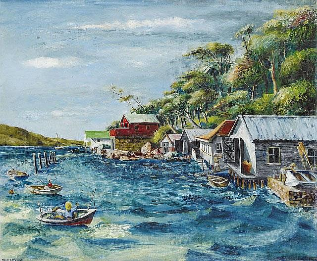 Elaine Haxton (1909-1999), King Tide 1950 oil on