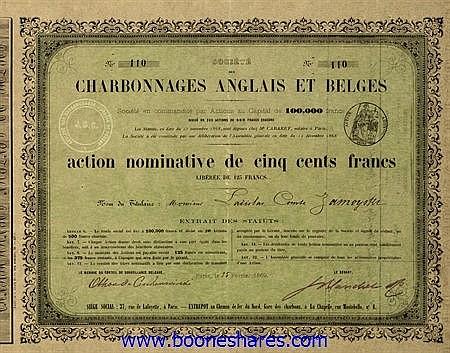 LOT : CHARB. ANGLAIS ET BELGES, SOC. (18 pieces)