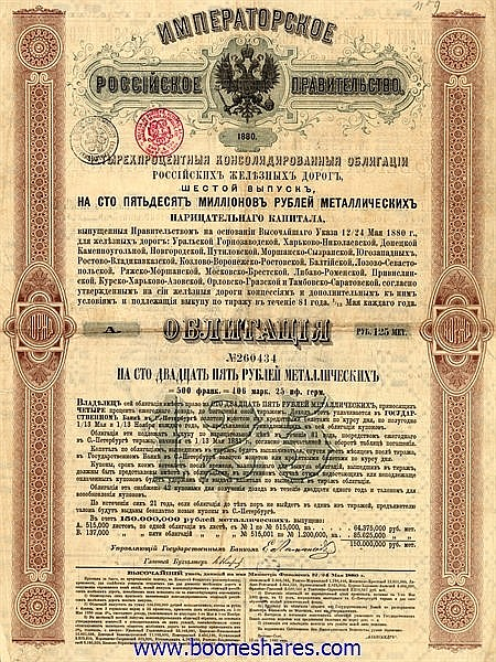CONSOLIDATED 6TH. RUSSIAN LOAN (2 types - 32 pieces)