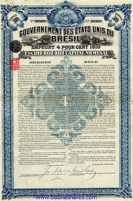 LOT: 62 BRAZILIAN GOVERNMENT BONDS