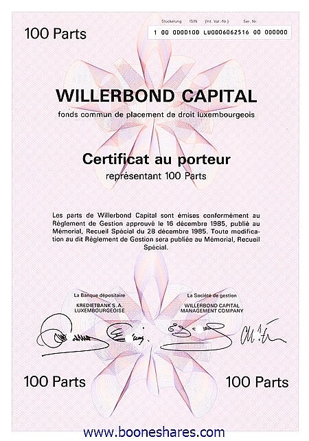 WILLERBOND CAPITAL - 3 types