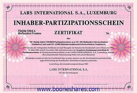 LARS INTERNATIONAL S.A.