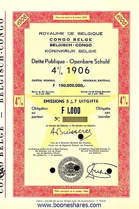 CONGO BELGE, DETTE PUBLIQUE 1906