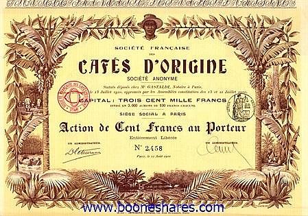 CAFES D'ORIGINE, SOC. FRANCAISE DES
