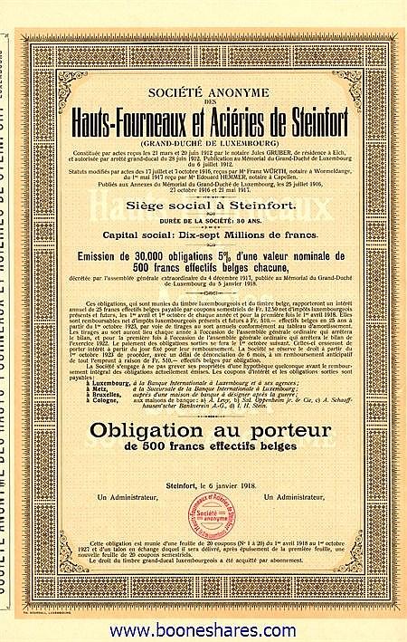 HAUTS-FOURNEAUX ET ACIERIES DE STEINFORT, S.A. DES