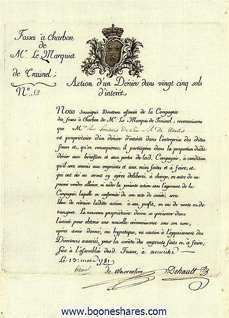FOSSES A CHARBON DE MR. LE MARQUIS DE TRAISNEL