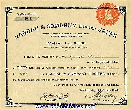 LANDAU & CO, LTD, JAFFA