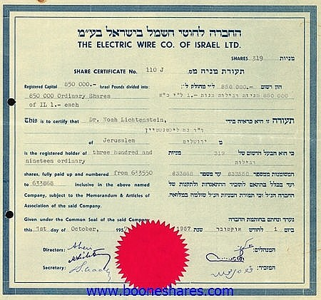 ELECTRIC WIRE CO. OF ISRAEL LTD