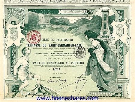 ASCENSEUR DE LA TERRASSE DE SAINT-GERMAIN-EN-LAYE, SOC. DE L'