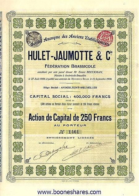 HULET-JAUMOTTE & CIE. FEDERATION BRASSICOLE, S.A. DES ANCIENS ETS