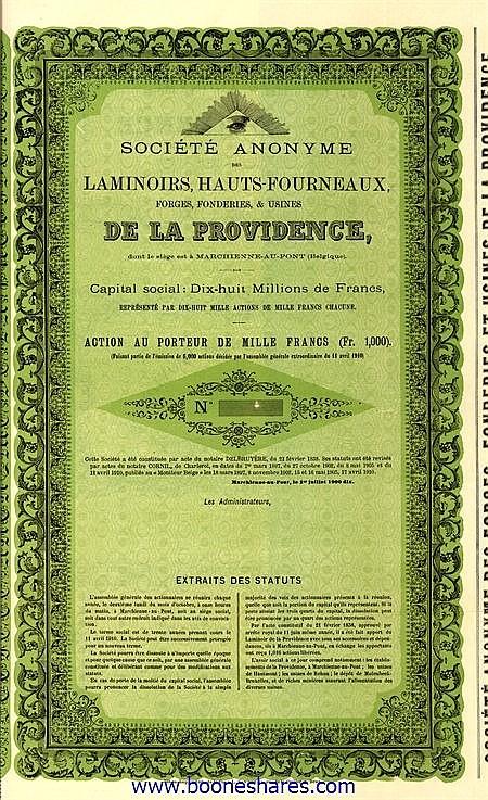 LAMINOIRS,HAUTS-FOURNEAUX FORGES, FONDERIES & USINES DE LA PROVIDENCE, S.A.