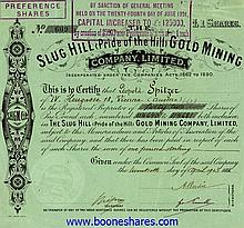SLUG HILL (PRIDE OF THE HILL) GOLD MINING CO., LTD