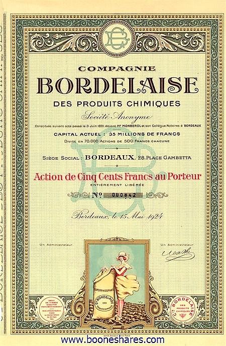 PRODUITS CHIMIQUES, CIE. BORDELAISE DES (2 types)