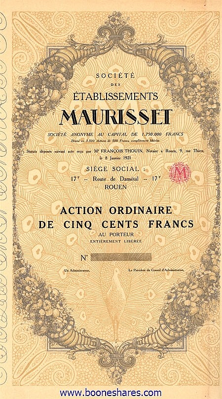 MAURISSET, SOC. DES ETS.