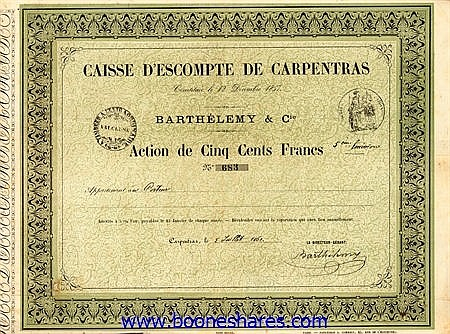 CAISSE D'ESCOMPTE DE CARPENTRAS - BARTHELEMY & CIE.