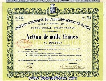COMPTOIR D'ESCOMPTE DE L'ARR. DE BAYEUX MULOT-LEFRANC ET CIE.