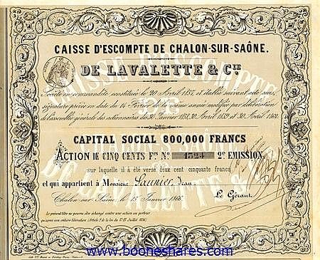 CAISSE D'ESCOMPTE DE CHALON-SUR-SAONE DE LA VALETTE & CIE.
