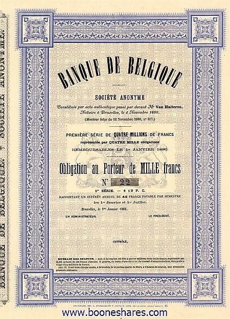 BANQUE DE BELGIQUE S.A.