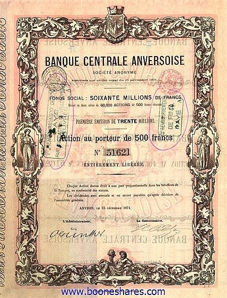 BANQUE CENTRALE ANVERSOISE S.A.