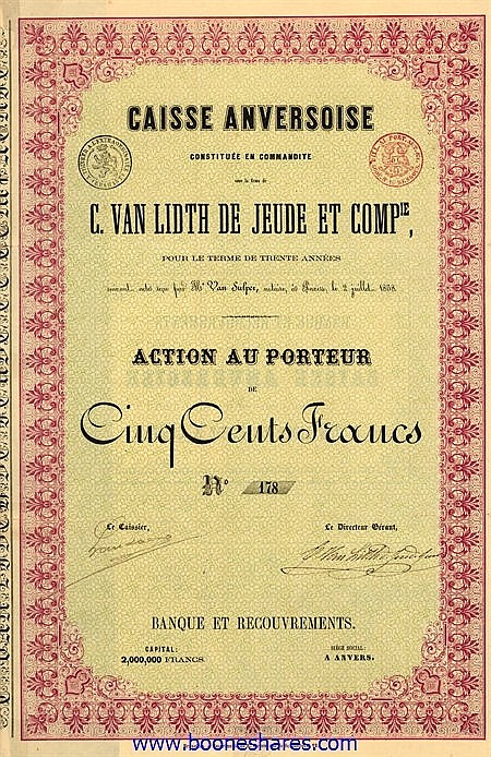 CAISSE ANVERSOISE C. VAN LIDTH DE JEUDE ET CIE.
