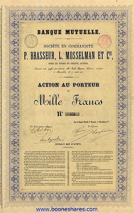 BANQUE MUTUELLE - P. BRASSEUR, L. MOSSELMAN ET CIE., SOC. EN COMM.