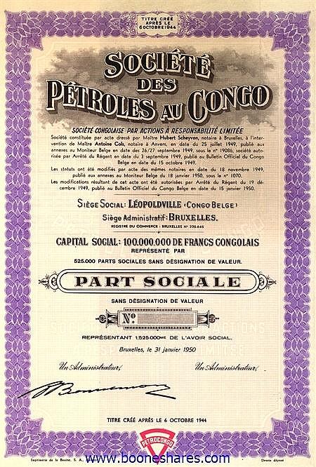 PETROLES AU CONGO - PETROCONGO