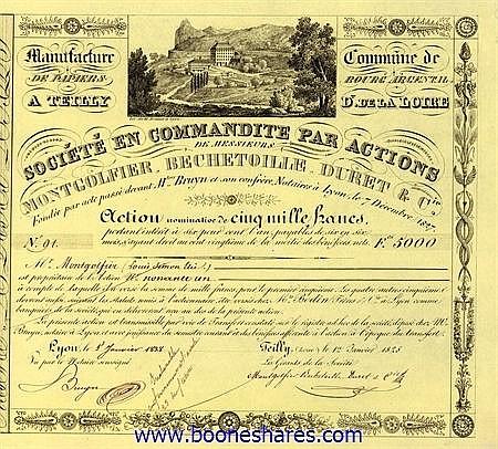 MONTGOLFIER, BECHETOILLE, DURET & CIE. - MANUFACTURE DE PAPIERS A TEILLY