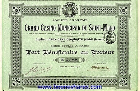 GRAND CASINO MUNICIPAL DE SAINT-MALO, S.A. DU