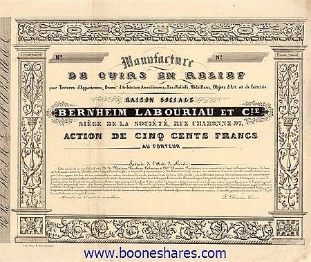 MANUFACTURE DE CUIRS EN RELIEF - BERNHEIM LABOURIAU ET CIE.