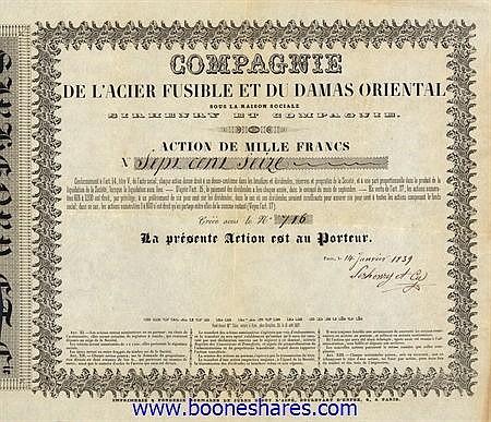 ACIER FUSIBLE ET DU DAMAS ORIENTAL, CIE. DE L'