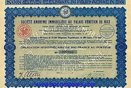 IMMOBILIERE DU PALAIS VENITIEN DE NICE, S.A.
